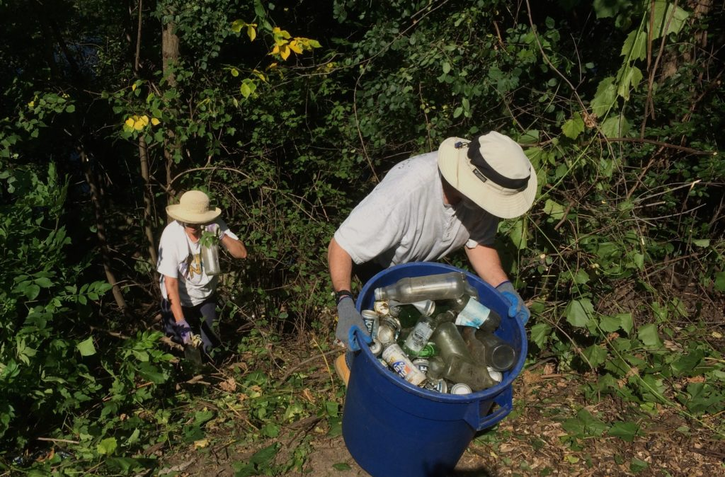 Bottles and cans littered the channel banks at Harbert Park